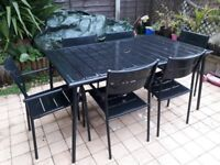 Garden / Patio Furniture Set, Table And Six Stackable Chairs, Black