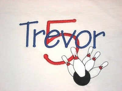Personalized BOWLING & Bowling Pins Name Number or Birthday T Shirt PARTY GIFT ()