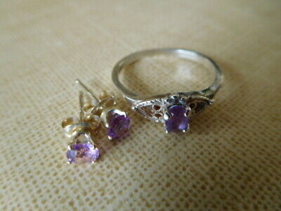 AVON Amethyst Sterling Silver Filigree Ring Size 7 with Earrings with Box Avon Amethyst Earrings