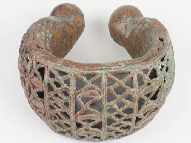 NobleSpirit NO RESERVE {3970} Massive African Bronze Ornate Anklet 3.5LB