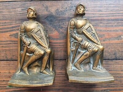 Vintage K&O Co Kronheim Oldenbusch Crusader Knight Bookends Book Ends Figure
