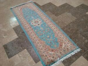 SEA BLUE FLORAL HAND KNOTTED RUNNER WOOL SILK CARPET 6x4 FB-2869