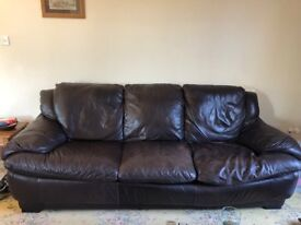 3 seater Natuzzi brown leather sofa for sale