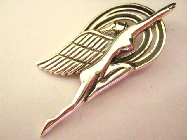 Sterling Silver Art Deco Fairy Angel Super Hero Speed Goddess Nike brooch