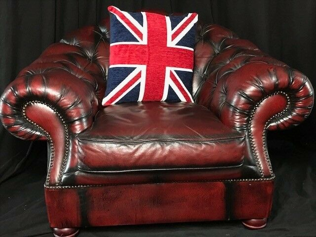 Sofas, Armchairs & Suites 1 Traditional Handmade Chesterfield Style Leather Wingback Armchair Oxblood Red