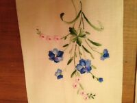 Home Decor:Two CreamVintage Embroidered  Linen Tea Cloths.Mint.