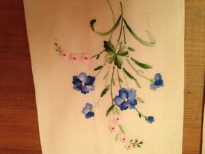 Kitchen/Dining Two Vintage Linen  Embroidered Tea Cloths .Mint.