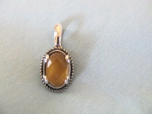 NEW CAROLYN POLLACK STERLING TIGERS EYE DOUBLET CHARM OR ENHANCER PENDANT