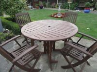 Garden table ,chairs,seat cushions,Parasol. EXCELLENT CONDITION