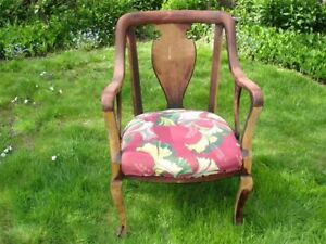 Cool Shabby Chic Vintage Dining Arm Chair Heavy Solid Wood