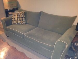 sofa, chair and ottoman with cushions - not in good condition