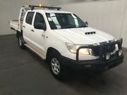 2012 Toyota Hilux KUN26R MY12 SR (4x4) Glacier White 5 Speed Manual Dual Cab Chassis Moonah Glenorchy Area Preview