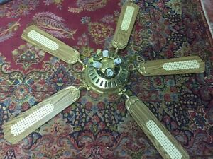 Brass and wood ceiling fan with lights.
