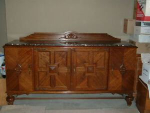 INVERMERE-BC.Antique Sideboard-marble/mahogany Revelstoke British Columbia image 1