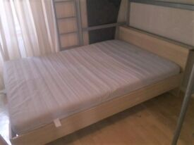 Ikea wooden double bed frame and mattress
