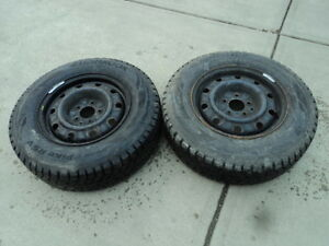 2 Hankook winter tires with steel rims 2001-2007 Dodge Caravan