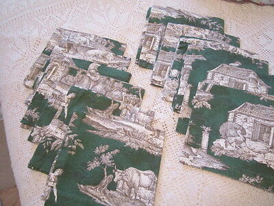 WILLIAMS SONOMA Italy Cotton Napkins,Set of 12 French Toile Country Scenes Green