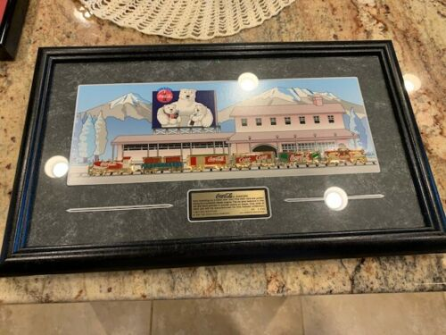 1997 Coca-Cola Limited Edition Framed 6 Train Pins Collectible Set~#0850 of 2500