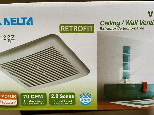 delta breeze Slim Series 70 CFM Wall or Ceiling Bathroom Exhaust Fan ENERGY STAR