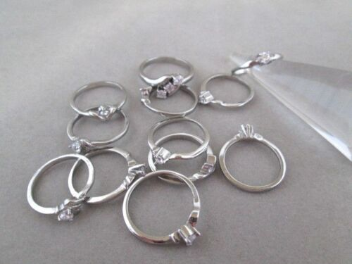 Wholesale Lot 12 Rings Stainless Steel CZ Mixed Sizes Petite Female Fashion USA