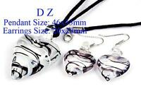 Women's Pretty Bead Glass Murano Pendant Heart & Earrings Set