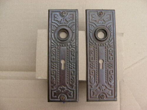 Pair of Antique Victorian Stamped Steel Door Knob Backplates