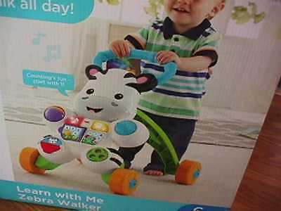 NEW FISHER PRICE INFANT LEARN WITH ME ZEBRA WALKER STAND WALK & PLAY ABCs & 123s