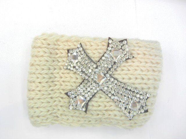 Chic Rhinestone Cross Winter Women Crochet Headband Knit Ear Warmer ...