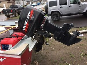 50HP Mercury outboard long shaft with controls for fix or parts