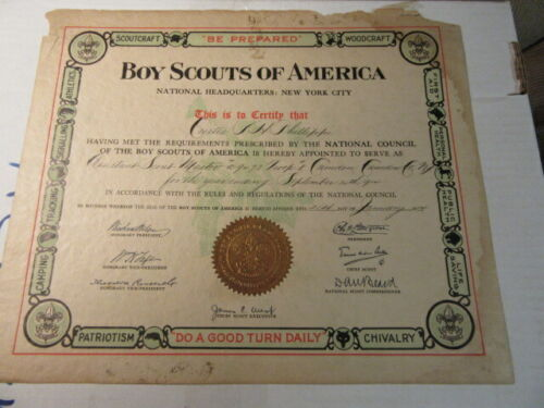 1914 Assistant Scoutmaster Wall Certificate, Camden County NJ  npc1