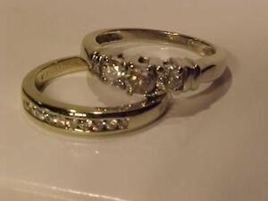 #1203-14K WITE GOLD WEDDING SET-JUST APPRAISAED-$3,550.00-SELL $895.00 FEEE LAYAWAY-ACCEPT INTERAC TRANSFER-GREAT VALUE