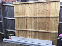 New, unused, 6ftx6ft vertical lap fence panel, 6ft concrete post and gravel board