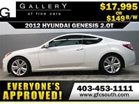 2012 HYUNDAI GENESIS 2.0T *EVERYONE APPROVED* $0 DOWN $129/BW!