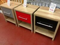 New high gloss white grey or black Bedside cabinet SALE £35 in store now