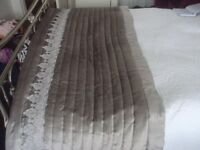 STUNNING KYLIE GREY VELVET THROW WITH LACE TRIM