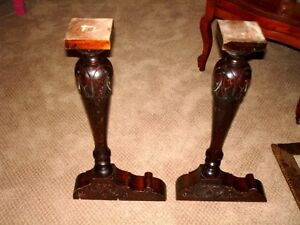 "salvaged 22"" FURNITURE LEGS carved wood ANTIQUE pair Kitchener / Waterloo Kitchener Area image 5"