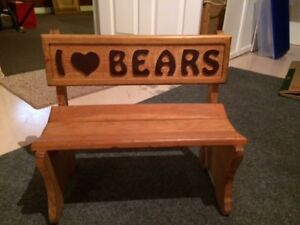 Children's Wooden Bear Bench