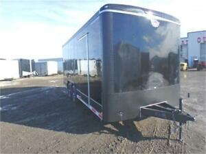 "8.5 x 18 ENCLOSED TRAILER - HD RAMP + 91"" INTERIOR + ALUM WHEELS"