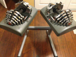 Pair Ironman Adjustable Dumbbells 2.5 to 55lbs + Stand bowflex