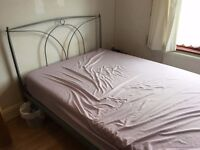 Strong grey double metal bed frame