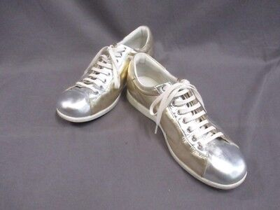 Auth GUCCI Silver Gold Multi Leather Sneakers Men