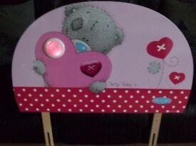 Like new me to u pink childs headboard with night light