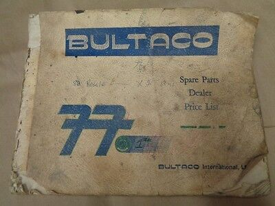 Bultaco Spare Parts Dealer Price List Book