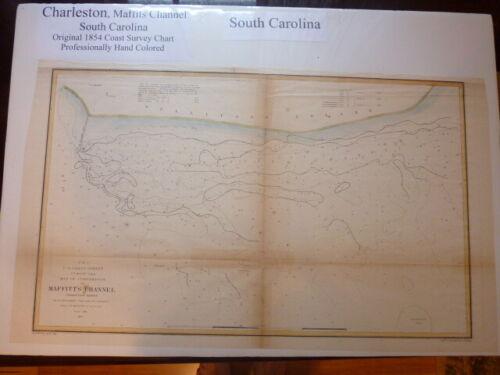 Original 1854 Hand Color Coast Survey Chart Maffits Channel SC