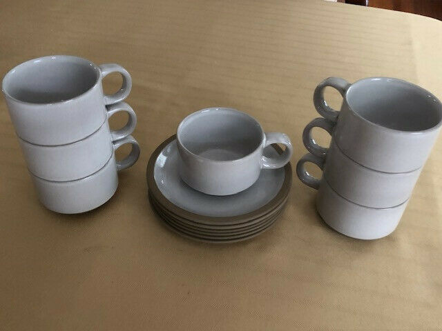 6 Midwinter Natural Wedgwood Stoneware Cups & Saucers (with 1 Bonus Cup) Japan