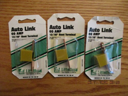 "VINTAGE LOT OF THREE LITTELFUSE AUTO LINK 60 AMP FUSES 13/16"" BENT MALE"