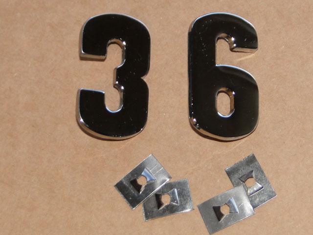 PS Zahlen für Lanz Bulldog D 3606 aus Metall verchromt auf die Motorhaube Foto 1