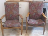 2 Parker Knoll Fireside Chairs. Need TLC! Not a matching pair but same fabric.