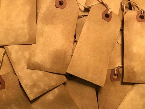 100 Medium #3 Primitive Coffee Stained Price antique store gift Hang Tags Lot