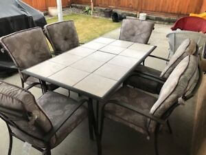 6 Chairs with Cushions and Table
